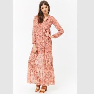 NWT Taupe Peach Boho Peasant Maxi Dress XXL New